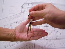 Architectural plans with keys Stock Images