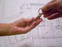 Architectural plans with keys Stock Photos