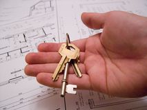 Architectural plans with keys Royalty Free Stock Photography
