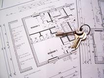Architectural plans with keys Royalty Free Stock Images