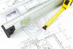 Architectural plans and measurement tools Royalty Free Stock Photography