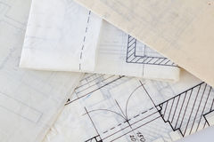 Architectural plans of the old paper Royalty Free Stock Photo