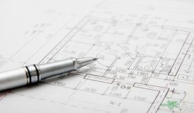 Architectural plans and pen Royalty Free Stock Photography