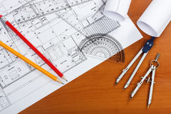 Architectural plans. Pencils and ruler on the desk royalty free stock photos