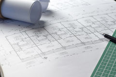 Architectural plans project drawing with blueprints rolls stock image