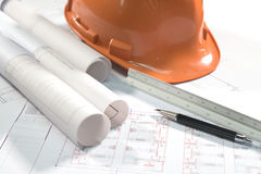 Architectural plans project drawing and pen stock photos