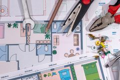 Architectural plans project with work tools. Architectural plans project  with work tools.  macro Royalty Free Stock Photos