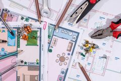 Architectural plans project  with work tools. Macro Royalty Free Stock Photography