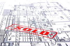Architectural plans with stamp Royalty Free Stock Photos