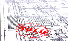 Architectural plans with stamp Stock Photo