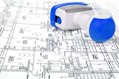 Architectural plans and stamp Royalty Free Stock Photography