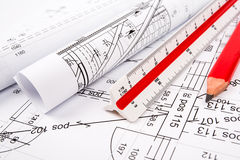 Architectural plans. Architectural  plans on the table Royalty Free Stock Photo