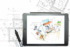 Architectural plans with tablet computer Royalty Free Stock Photography