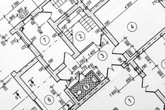 Architectural project. Plan of the house royalty free stock photography