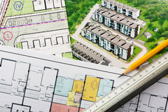 Architectural project. General plan, perspective view and floor plan royalty free stock images