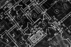 Architectural project. Plan of the house stock photos