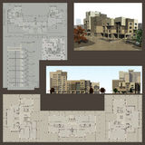 Architectural project. Of a building. Perspective. Sections. Views. Plans with dimensions. Free space for your text on it Stock Photo
