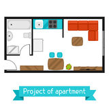Architectural project of apartment with furniture. Image for banners, web sites, designs Stock Photography