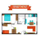 Architectural project of apartment with furniture. Image for banners, web sites, designs Stock Photos
