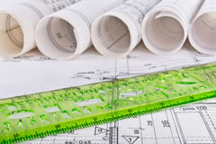 Architectural project architect workplace Stock Photography