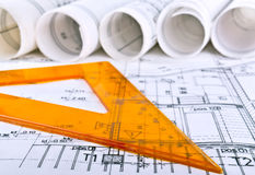Architectural project architect workplace Stock Images