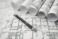 Architectural project, blueprints, blueprin Stock Images