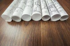 Architectural project, blueprints, blueprin Stock Photos