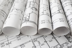 Architectural project, blueprints, blueprin Royalty Free Stock Photography