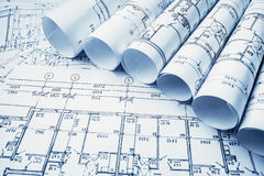 Architectural project, blueprints, blueprin Royalty Free Stock Images