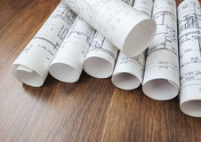 Architectural project, blueprints, blueprin Royalty Free Stock Photos