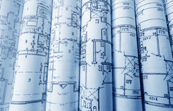 Architectural project, blueprints, blueprin Stock Photography
