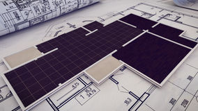 Architectural project, blueprints, blueprint rolls on plans. Royalty Free Stock Image