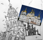 Architectural project of Christian church. Work drawings and photo on the table royalty free stock photo