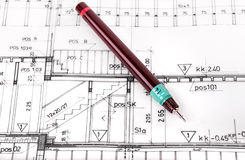 Architectural project close up Royalty Free Stock Photography