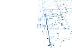 Architectural project, construction plan blueprint, technical dr Stock Photography