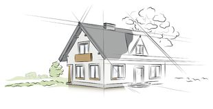 Architectural project detached house. Vector illustration Royalty Free Stock Photo
