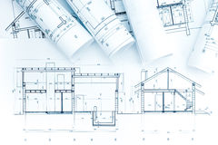 Architectural project drawings, rolls and house plan Royalty Free Stock Photo