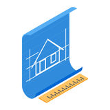 Architectural project icon, isometric 3d style Royalty Free Stock Photo