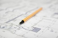 Architectural project macro Royalty Free Stock Photography