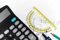 Architectural project, pair of compasses, rulers and calculator Stock Image