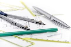 Architectural project, pair of compasses, rulers and calculator Royalty Free Stock Photos