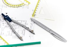 Architectural project, pair of compasses, rulers and calculator Royalty Free Stock Photography