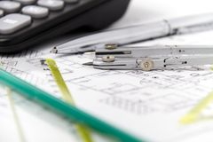 Free Architectural Project, Pair Of Compasses, Rulers And Calculator Royalty Free Stock Image - 52480586