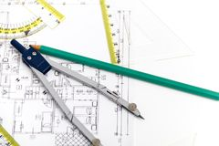 Free Architectural Project, Pair Of Compasses, Rulers And Calculator Royalty Free Stock Image - 52495746