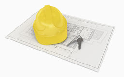 Architectural Project Plan with Helmet Royalty Free Stock Image