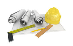 Architectural Project Plan with Helmet Stock Photos