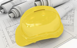 Architectural Project Plan with Helmet Stock Photo