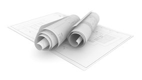 Architectural Project Plan on White Background Royalty Free Stock Photography