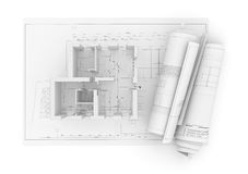 Architectural Project Plan on White Background Royalty Free Stock Image