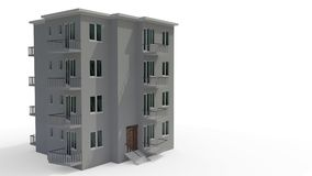 An architectural project that`s under construction, left view 3d rendering. An architectural project that`s under construction, left view 3d render royalty free illustration
